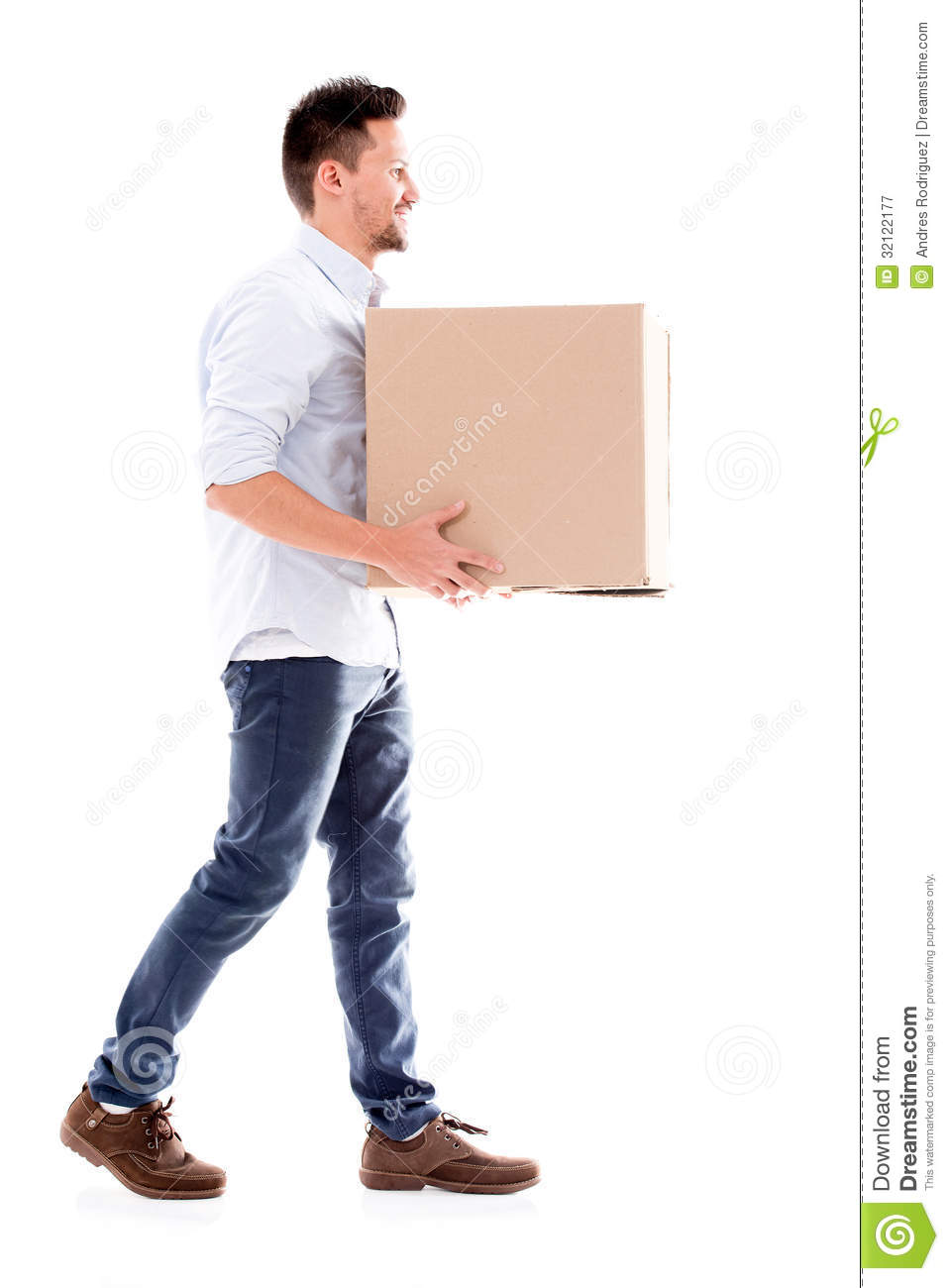 Business Man Carrying A Box Stock Image Image 32122177