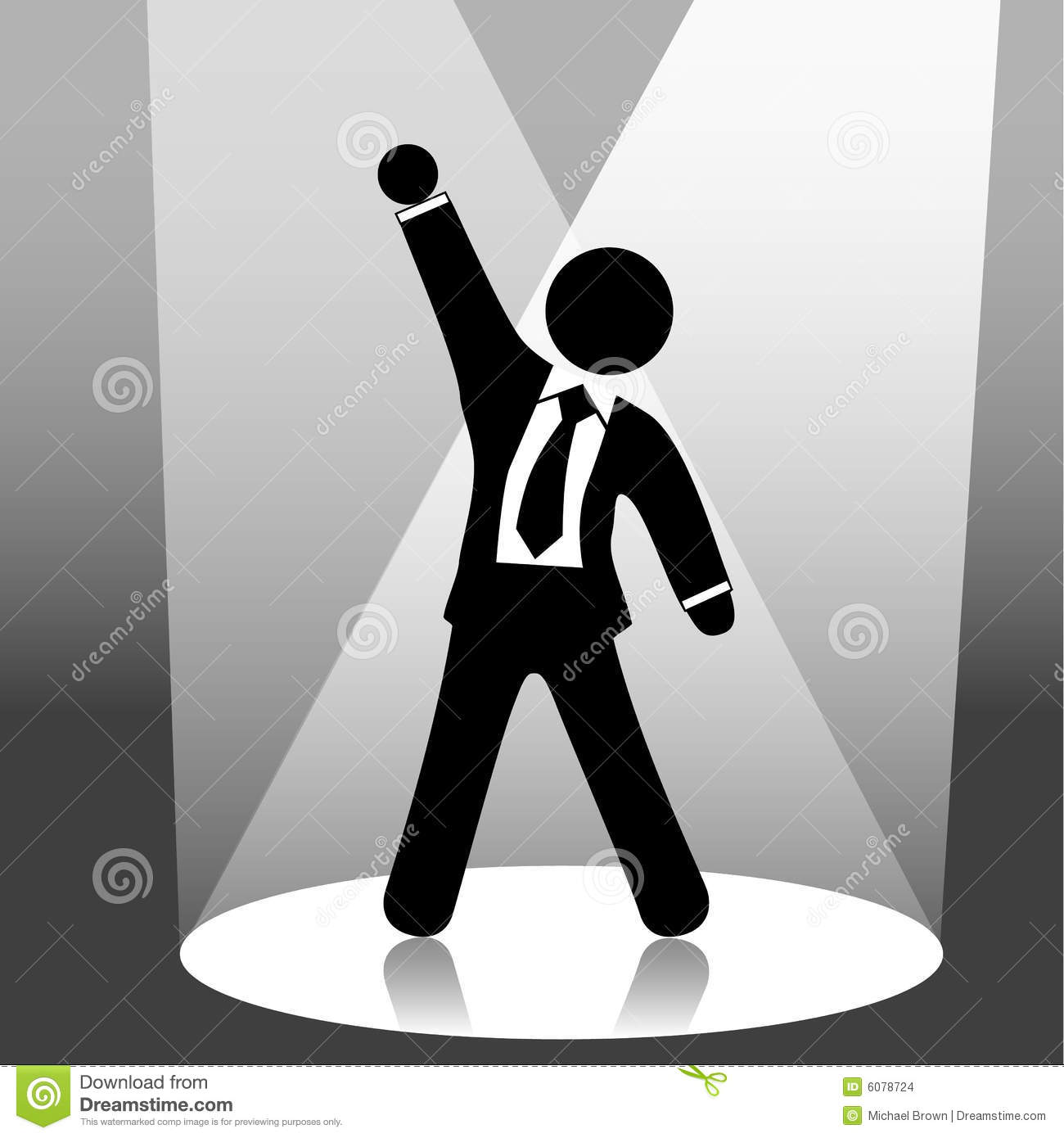 Download Business Man Celebration On Stage Spotlight Stock Vector