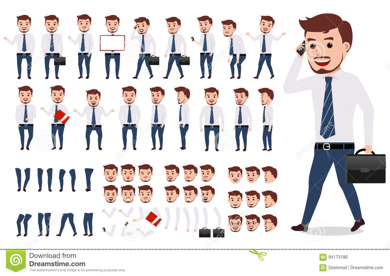 Business Man Character Creation Set  Male Vector Character