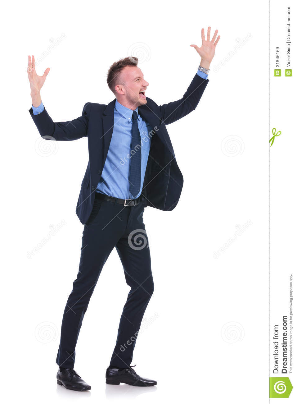 Business Man Cheering Royalty Free Stock Images - Image