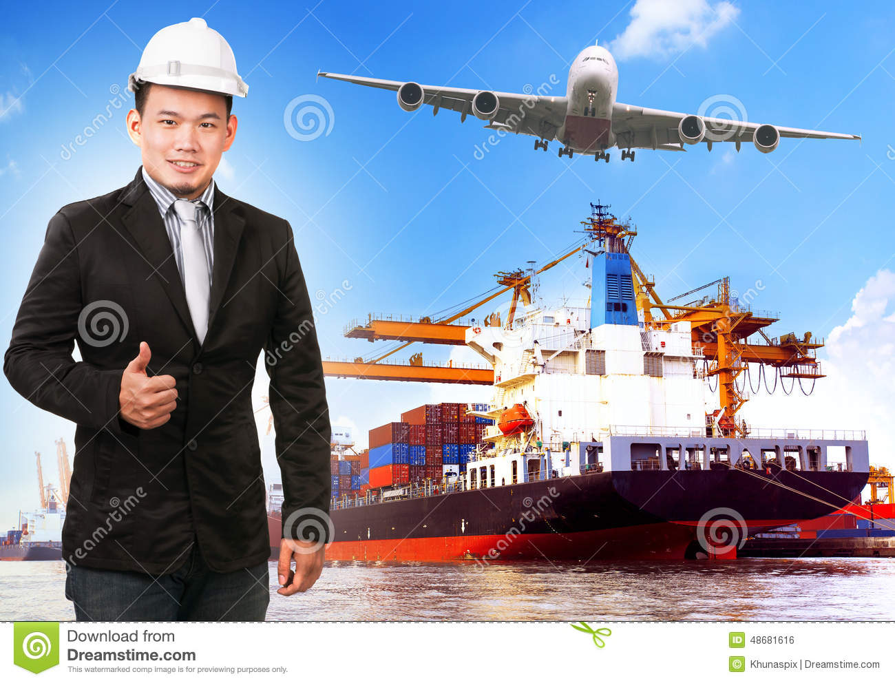 Industry Container Ship On Port For Import Export Goods Trading ...
