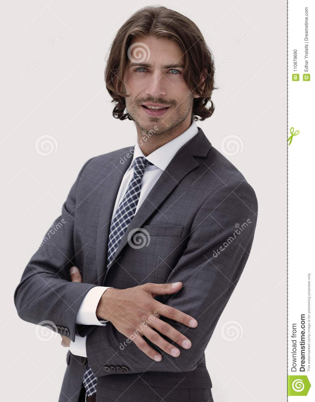 Business Man With Crossed Arms Smiling White Background
