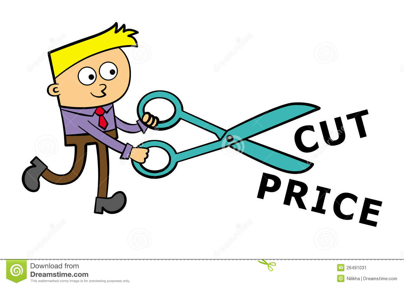 a business man cuts with scissors stock illustration illustration