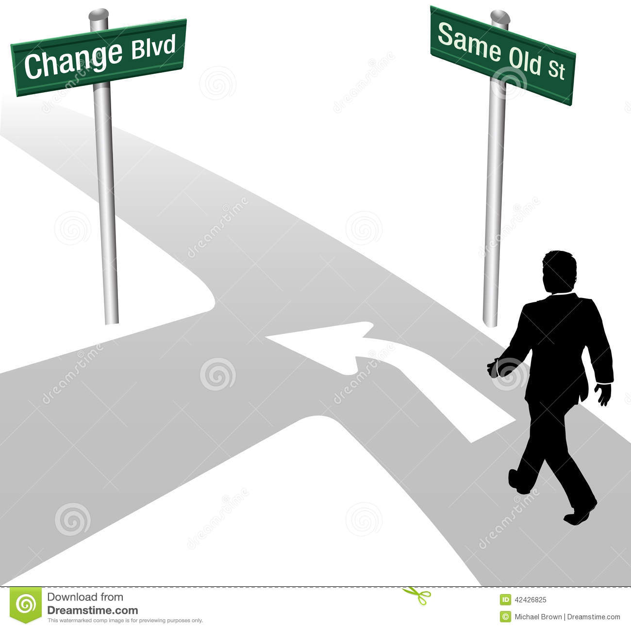 Business person decision to go same old way or change choose new path ...
