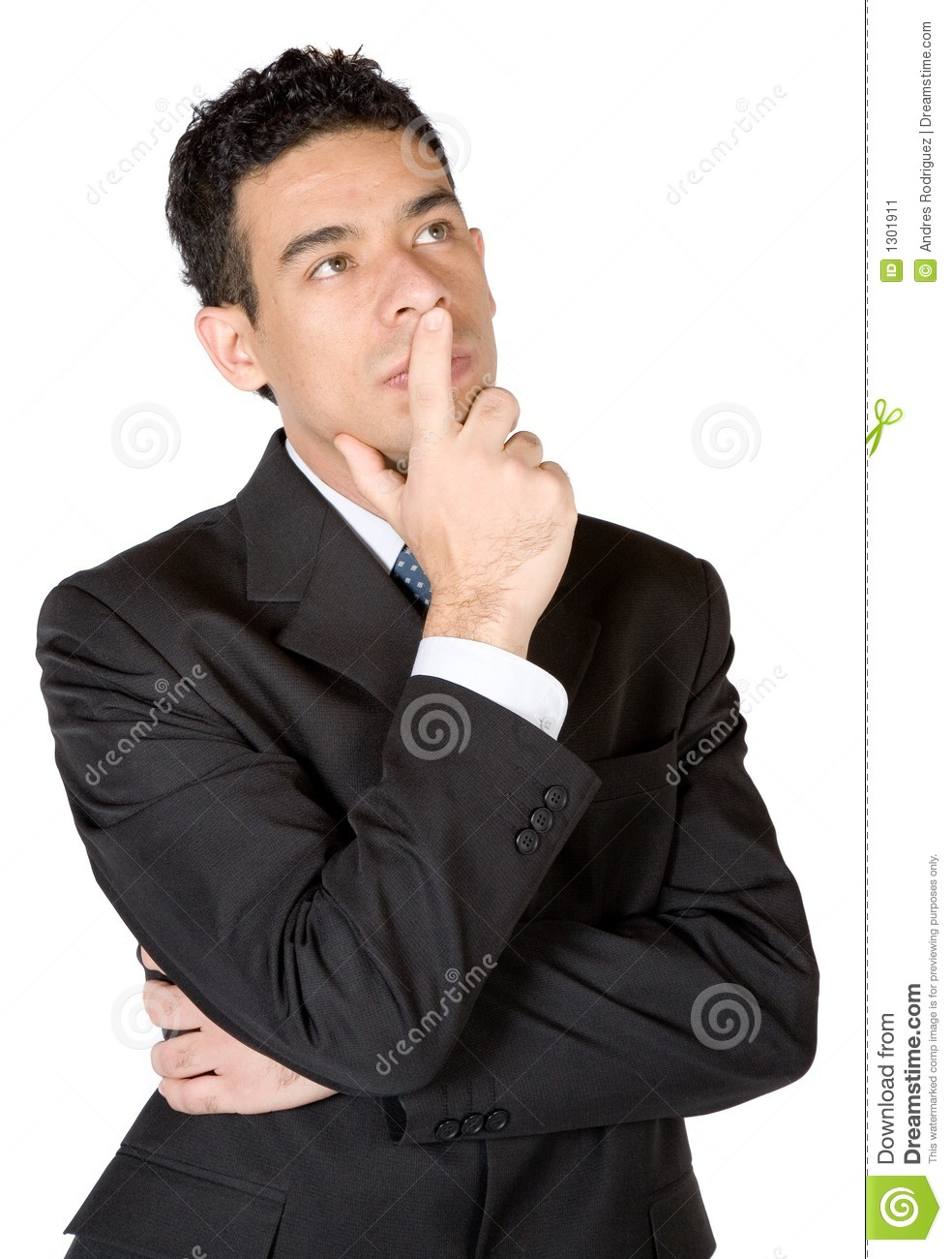Business Man Deep In Thought Stock Image - Image: 1301911