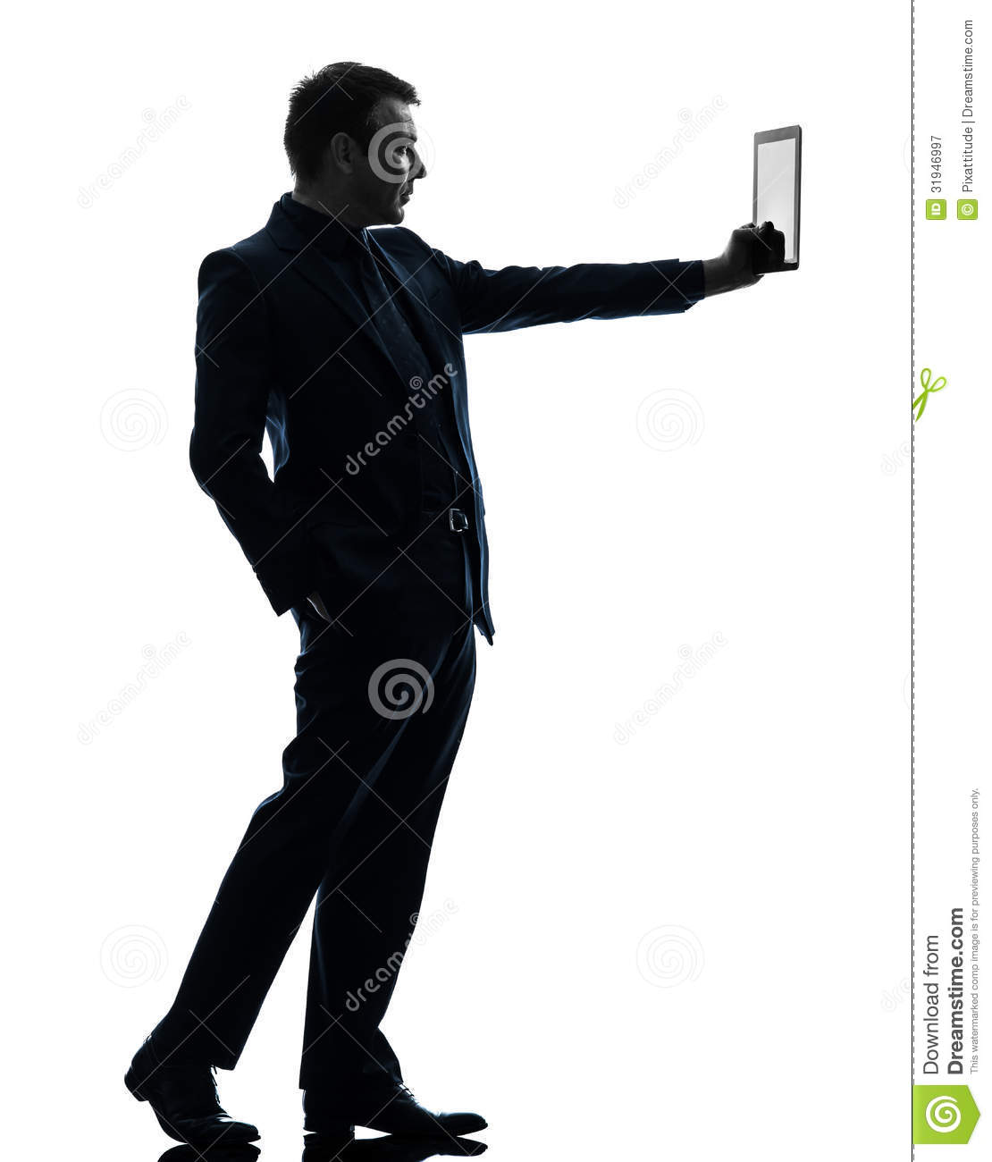 Business Man Digital Tablet Silhouette Stock Image - Image ...