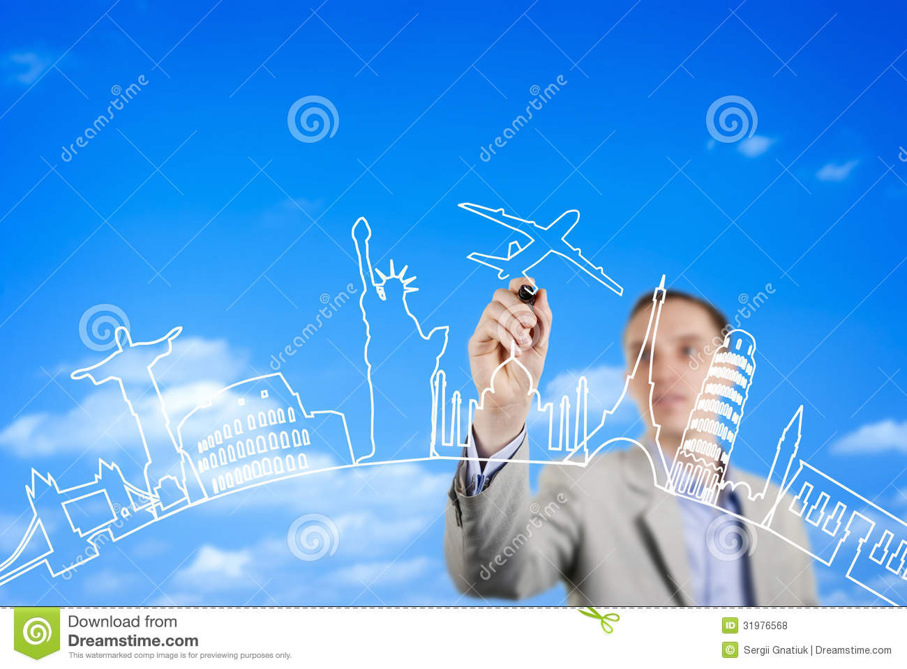 Business Man Drawing On A Glass Wall Royalty Free Stock Photos ...