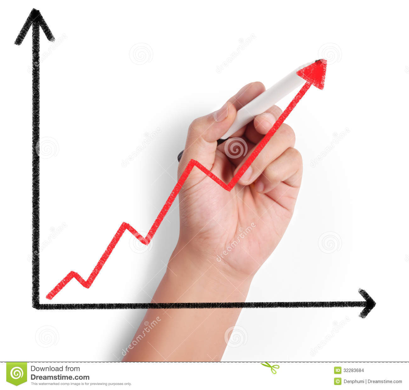 Drawing Line Graphs By Hand : Business man drawing graph stock images image