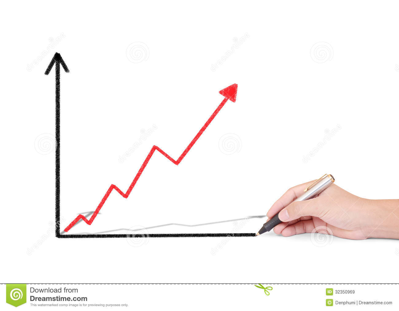 Drawing Line Graphs By Hand : Business man drawing graph royalty free stock images