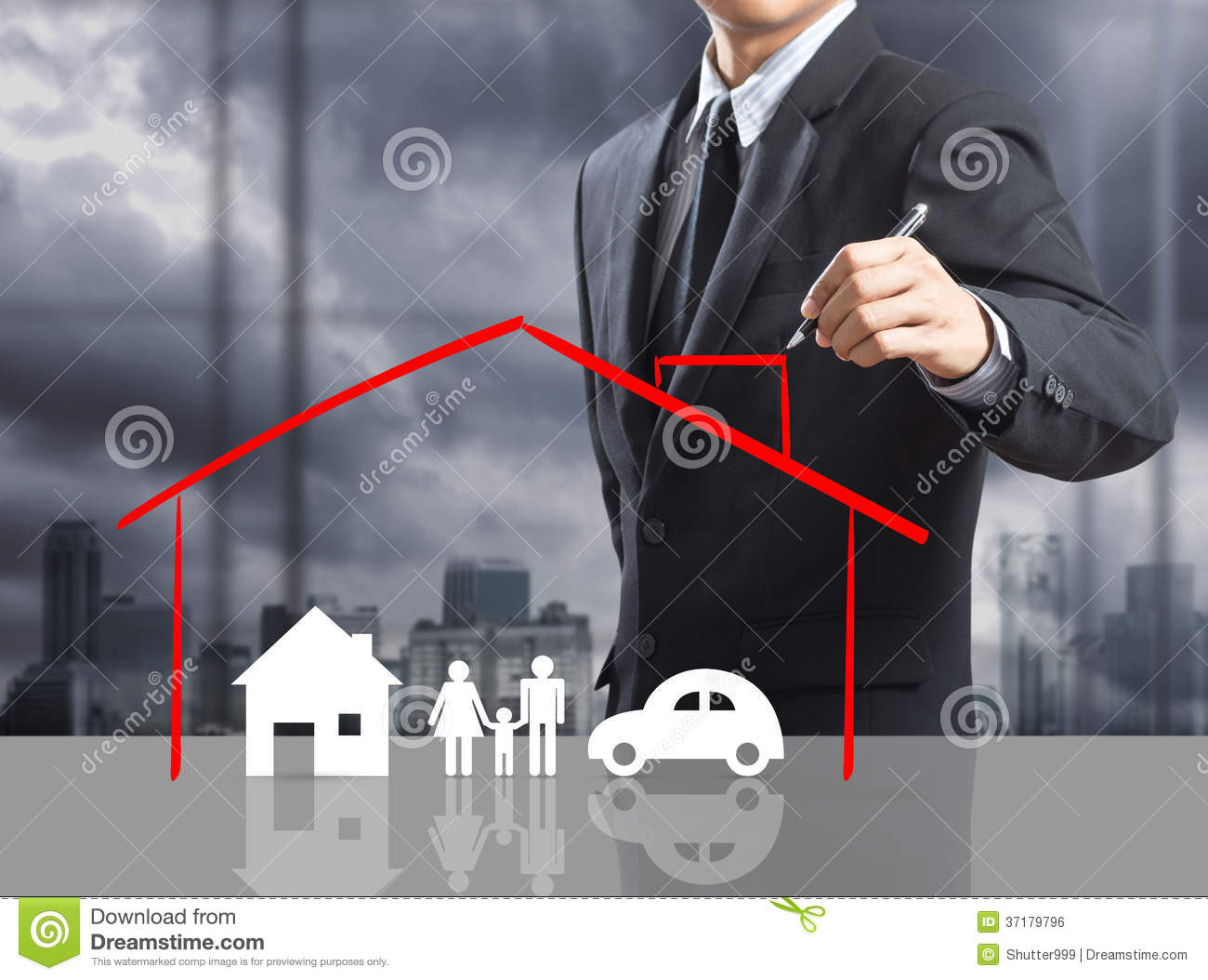Business Man Drawing Insurance Concept Royalty Free Stock