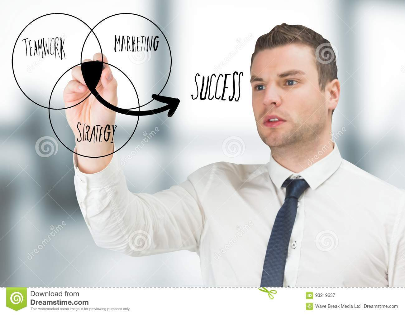 Business Man Drawing Venn Diagram Doodle In Blurry Grey