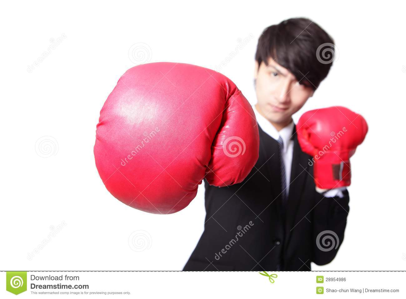 Business Man Fighting With Boxing Gloves Royalty Free ...