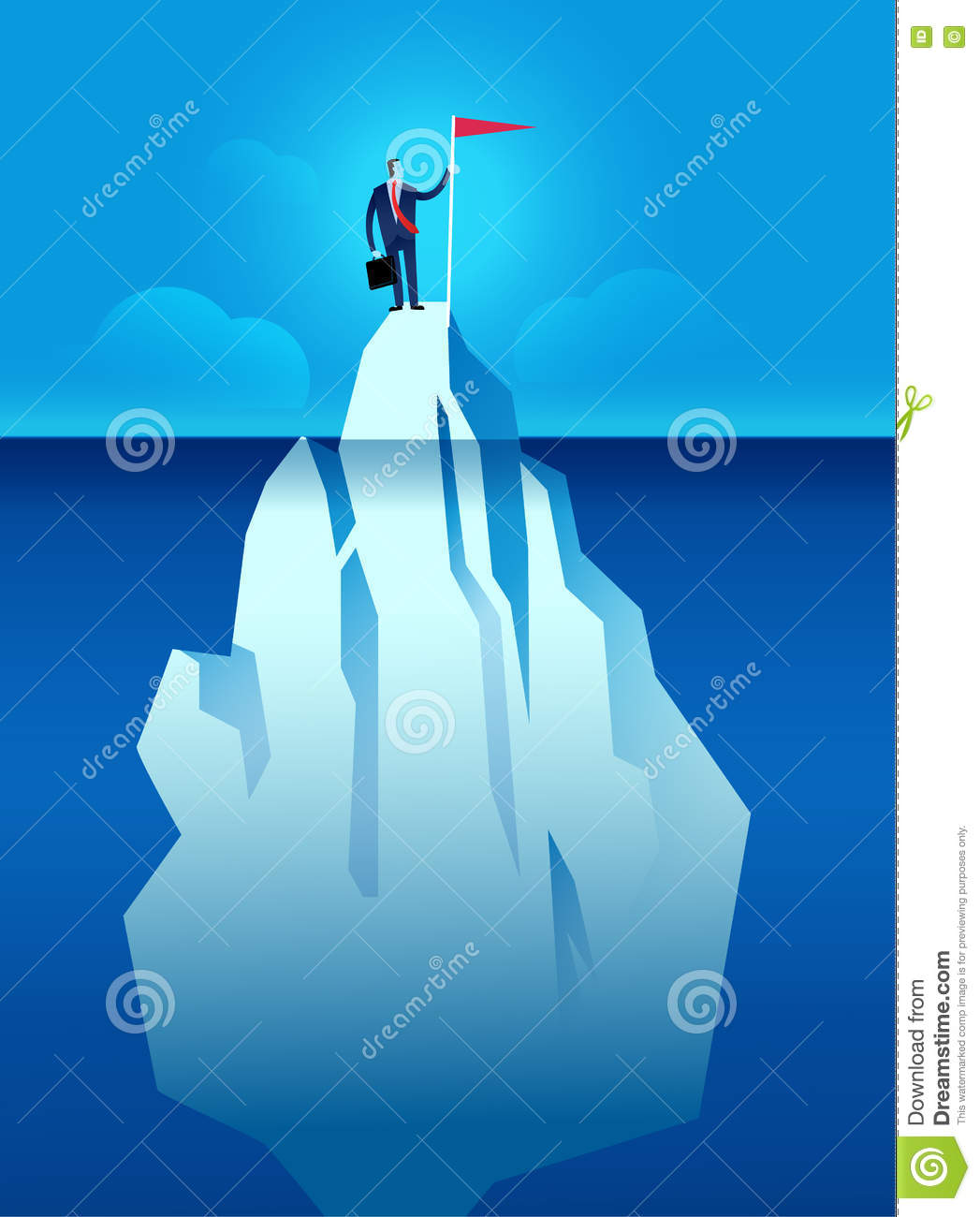 Business Man With Flag On The Iceberg Vector Illustration Stock Vector ...