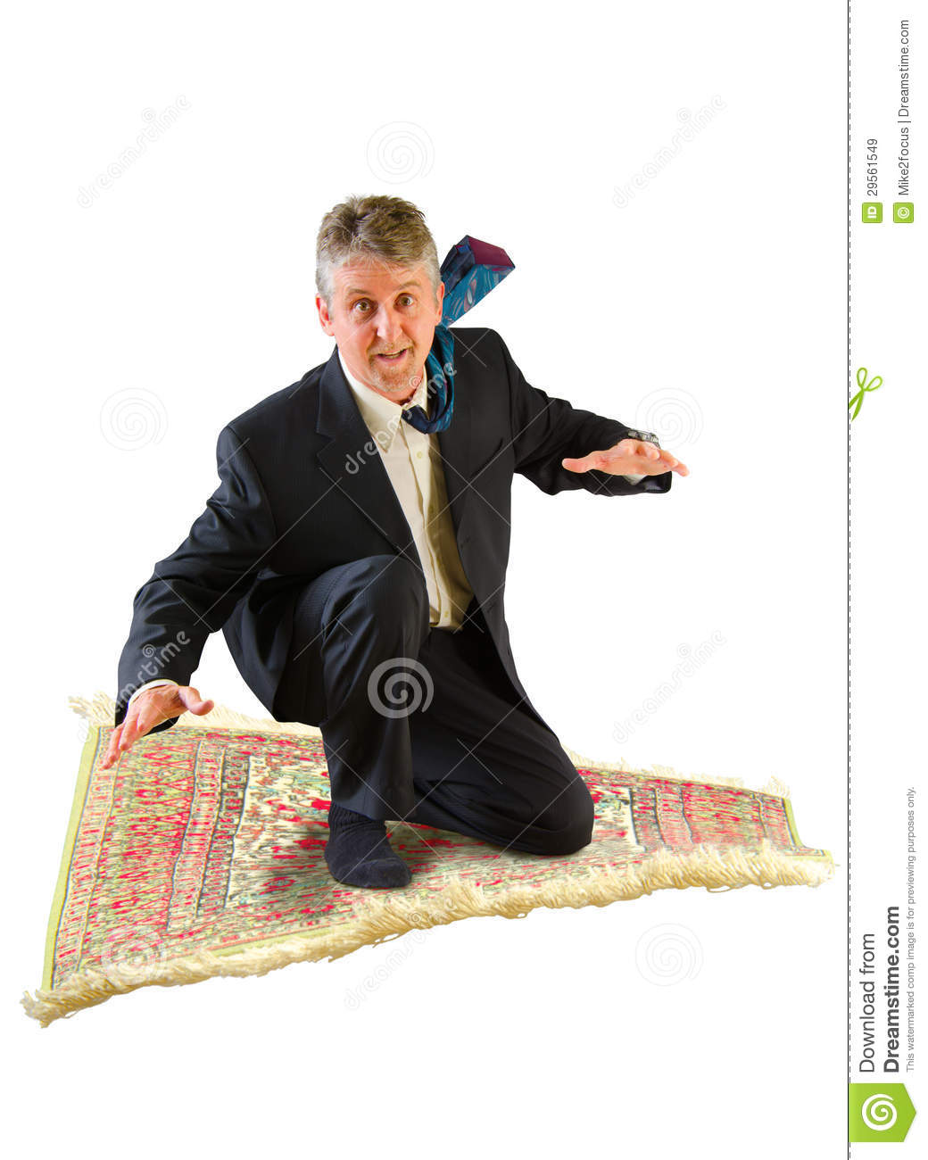 Business Man Flying On A Magic Carpet Royalty Free Stock