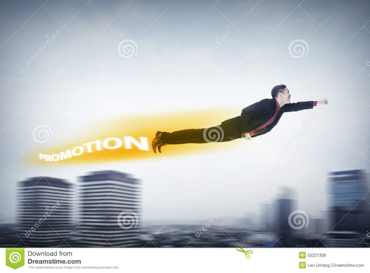 Business man flying with promotion shadow behind him