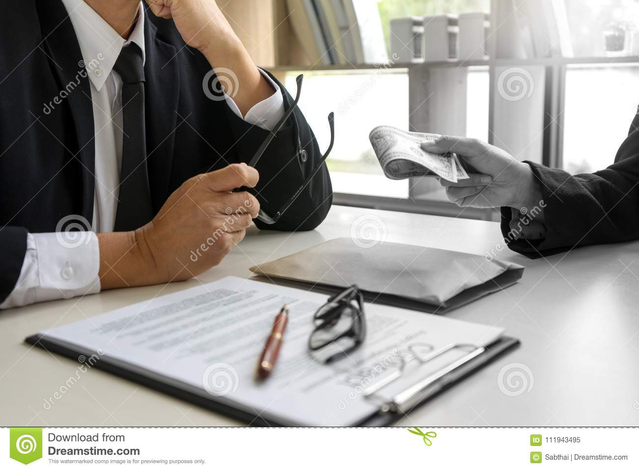 Business Man Give Bribe To The Office Stock Image - Image of