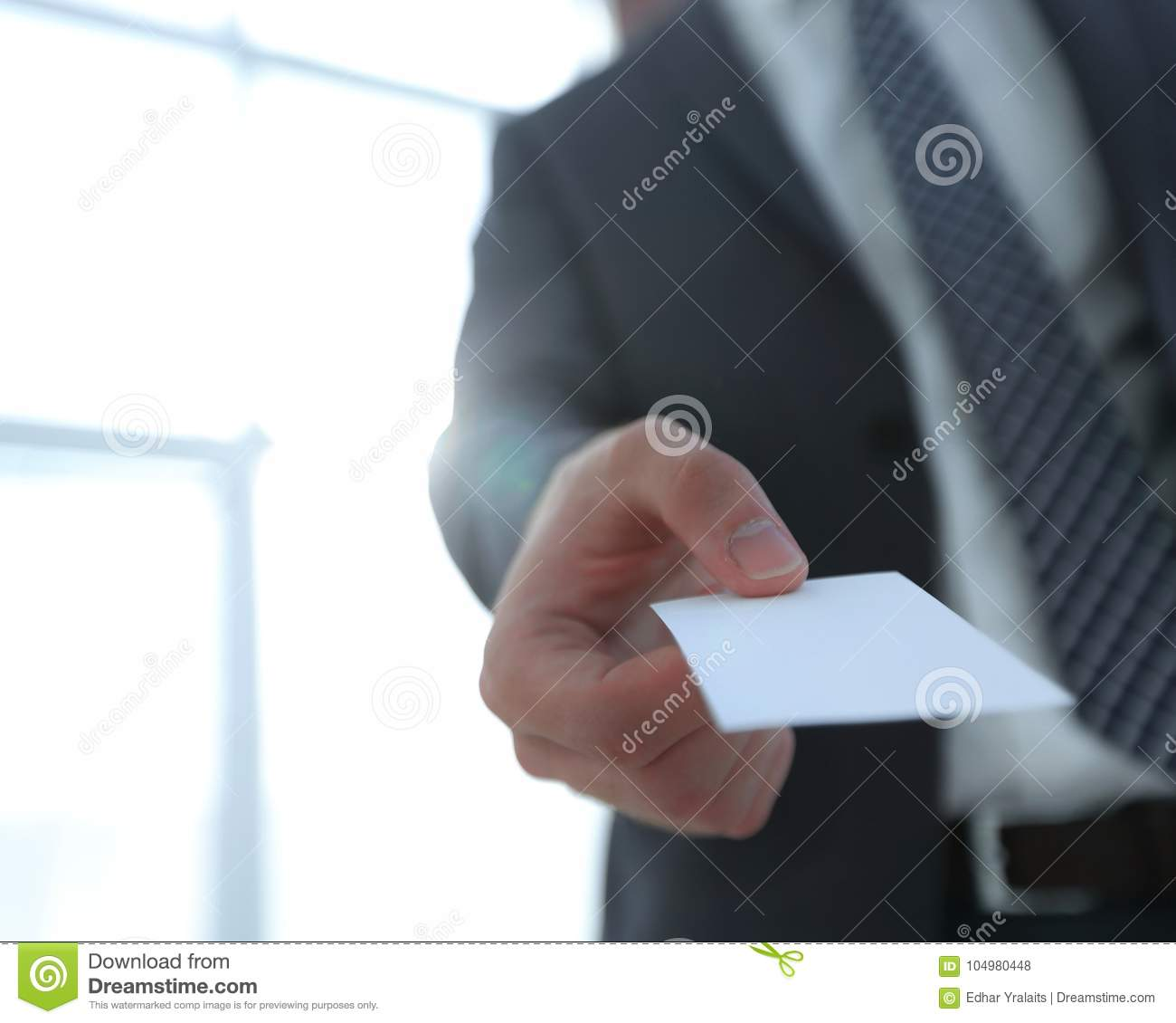 Business Man Giving Business Card On Bright Background Stock Photo ...