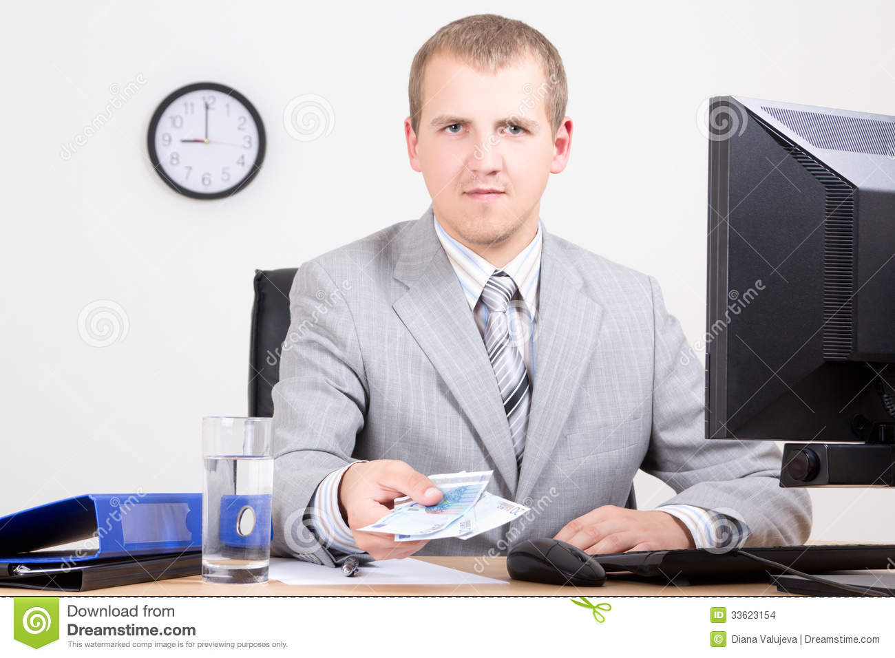 Business Man Giving Money In Bright Office Stock Images ...