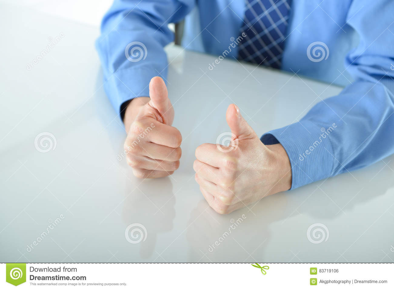 Business Man Giving Two Big Thumbs Up Stock Photo