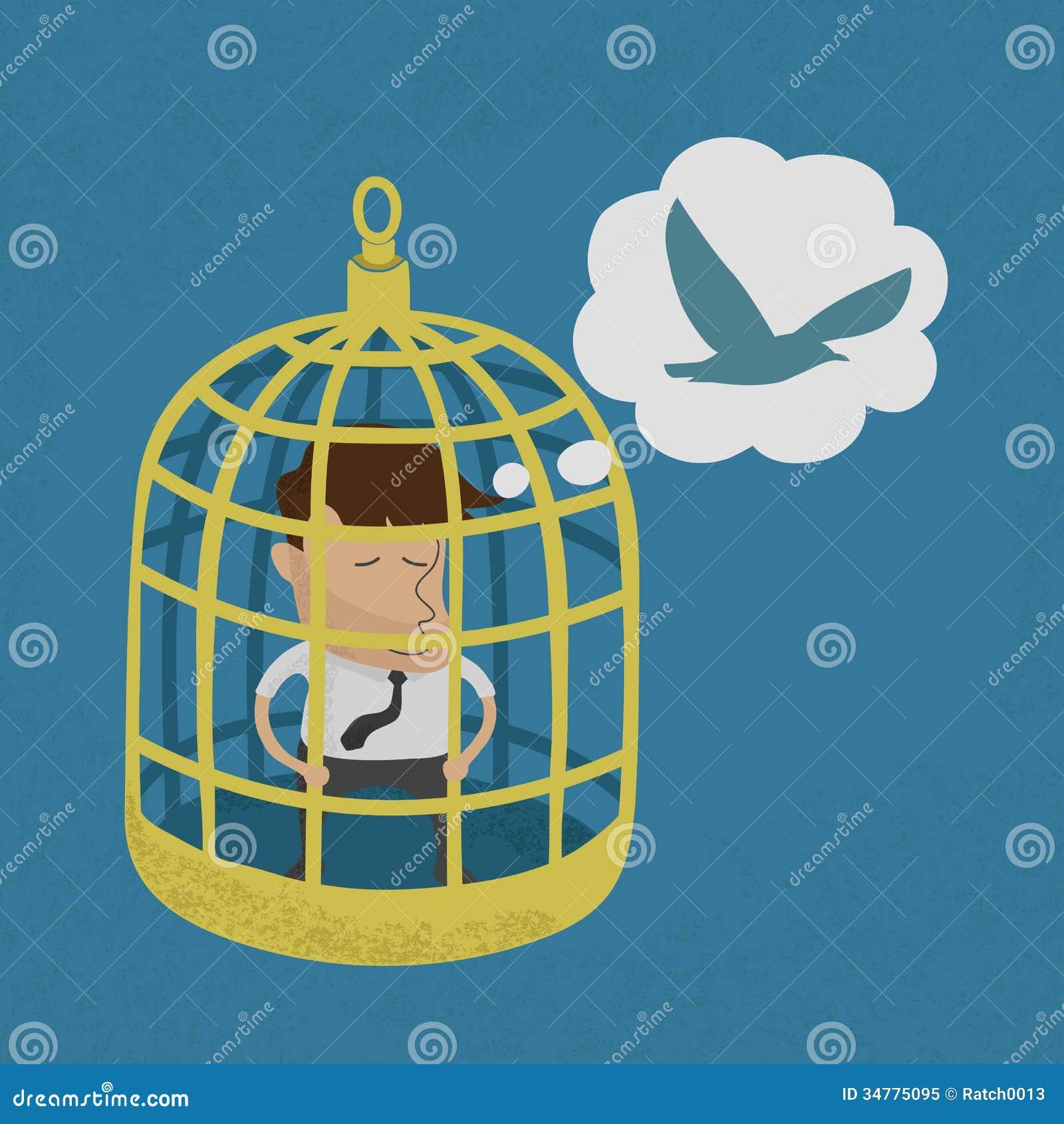 Business Man In Golden Bird Cage Stock Vector Image