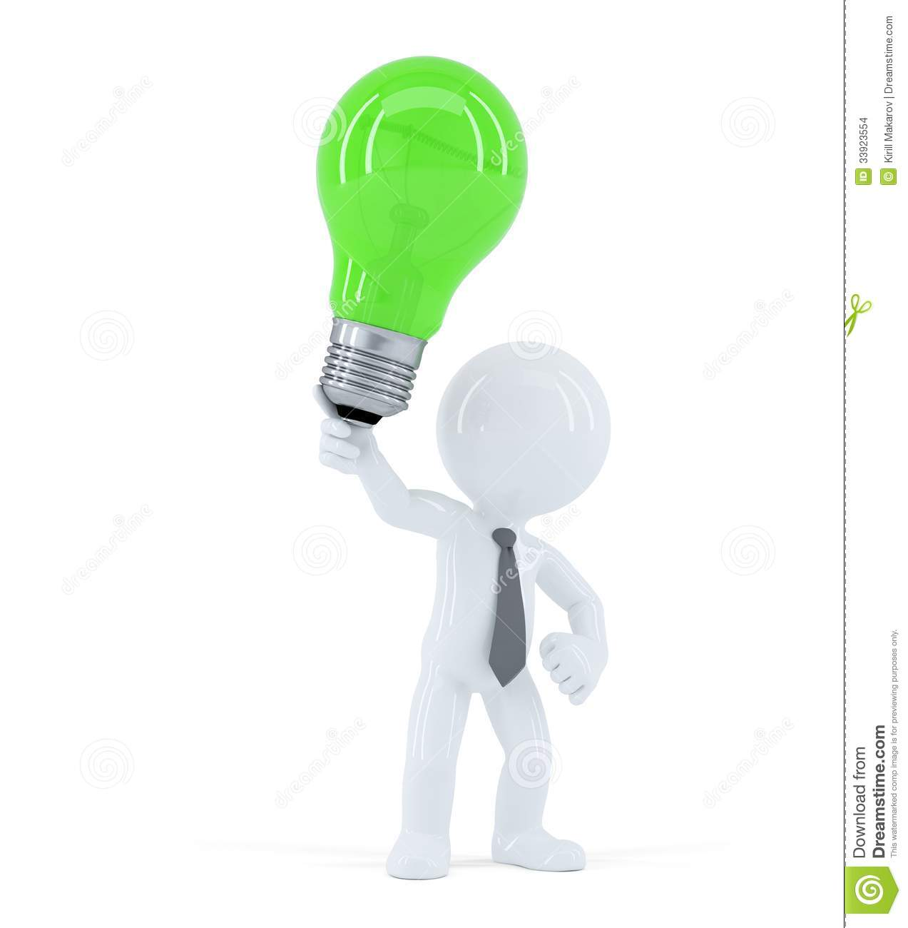 Download Business Man With Green Light Bulb Concept Of Creative Idea Stock Illustration