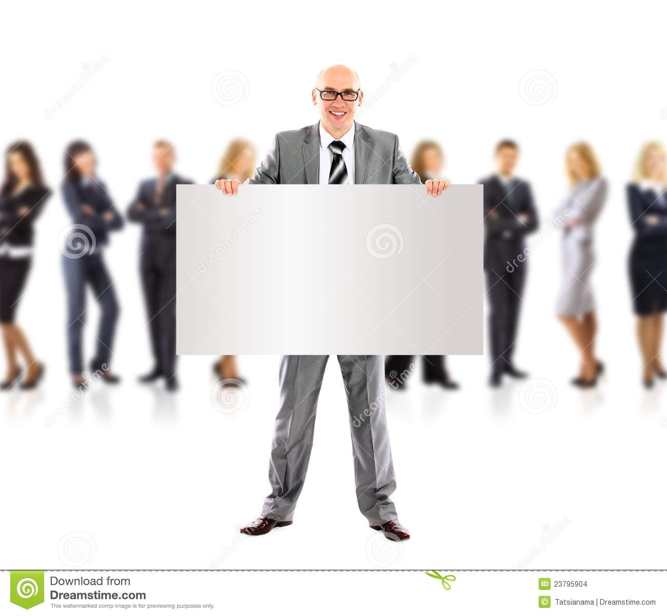 The Ad Group: Business Man And Group Holding A Banner Ad, Stock Images