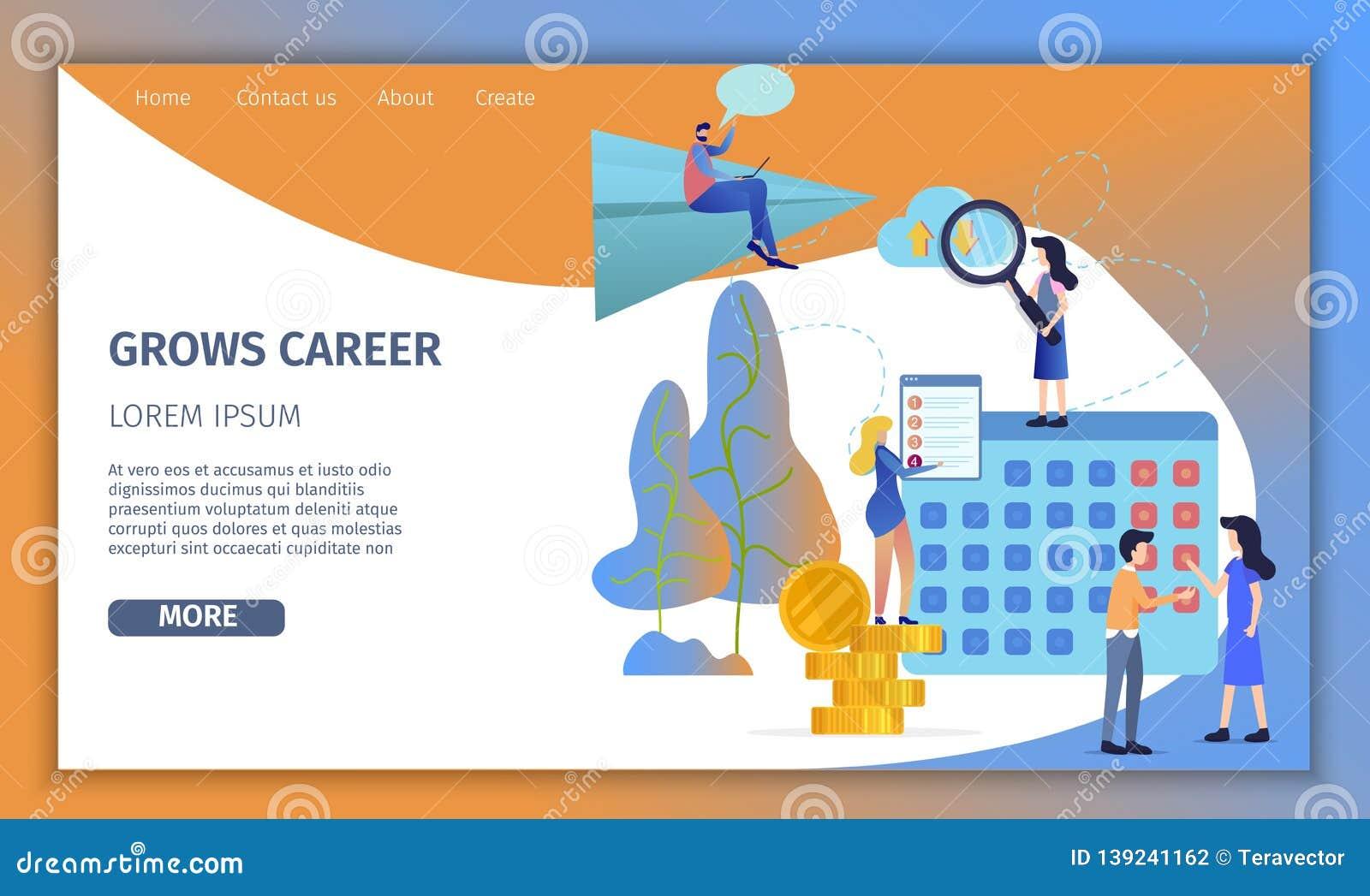 Business Man Grow Up Corporate Career Banner Stock Illustration Illustration Of Background Forward 139241162