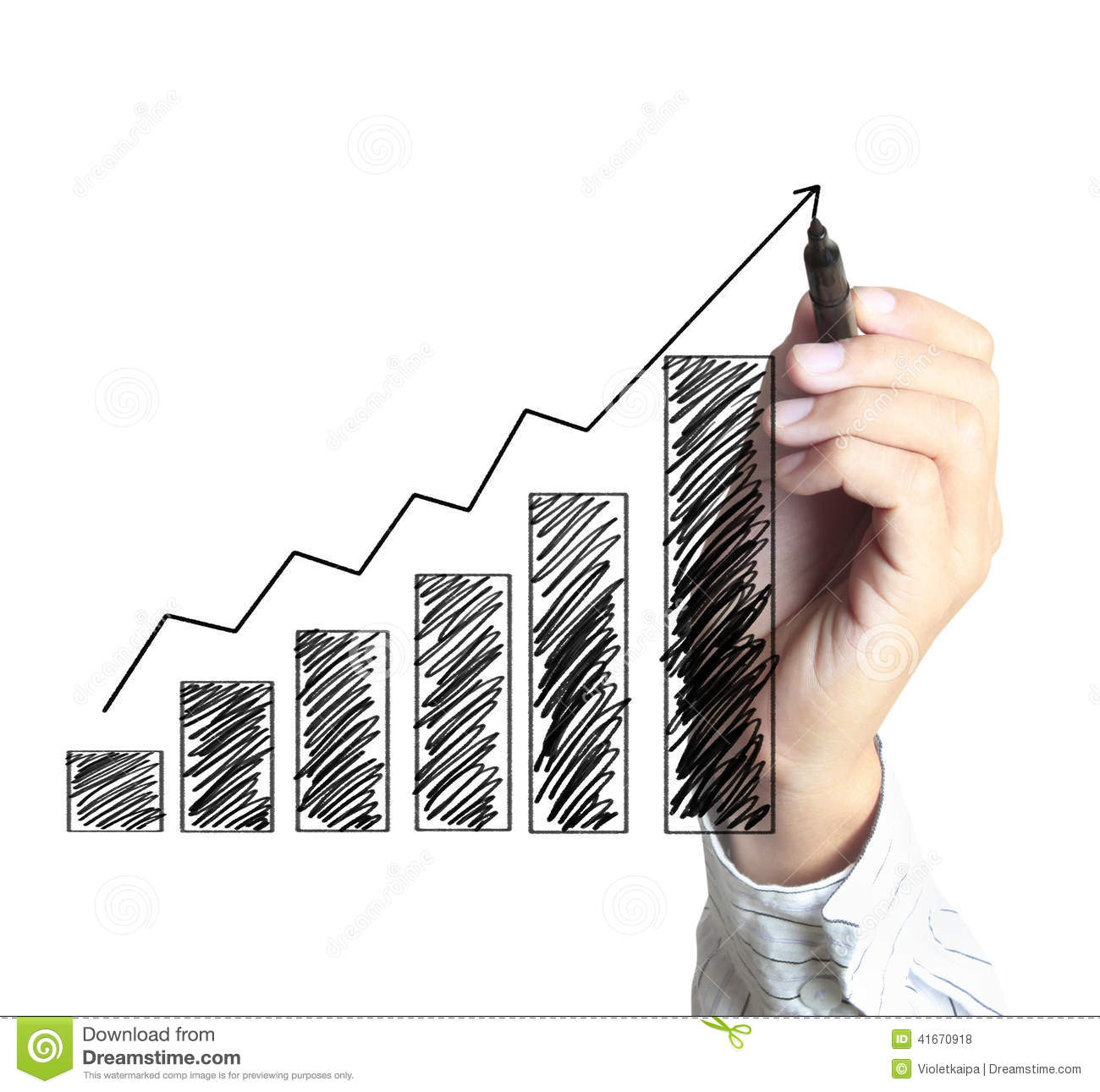 Drawing Line Graphs By Hand : Hand drawing growth graph for business royalty free stock
