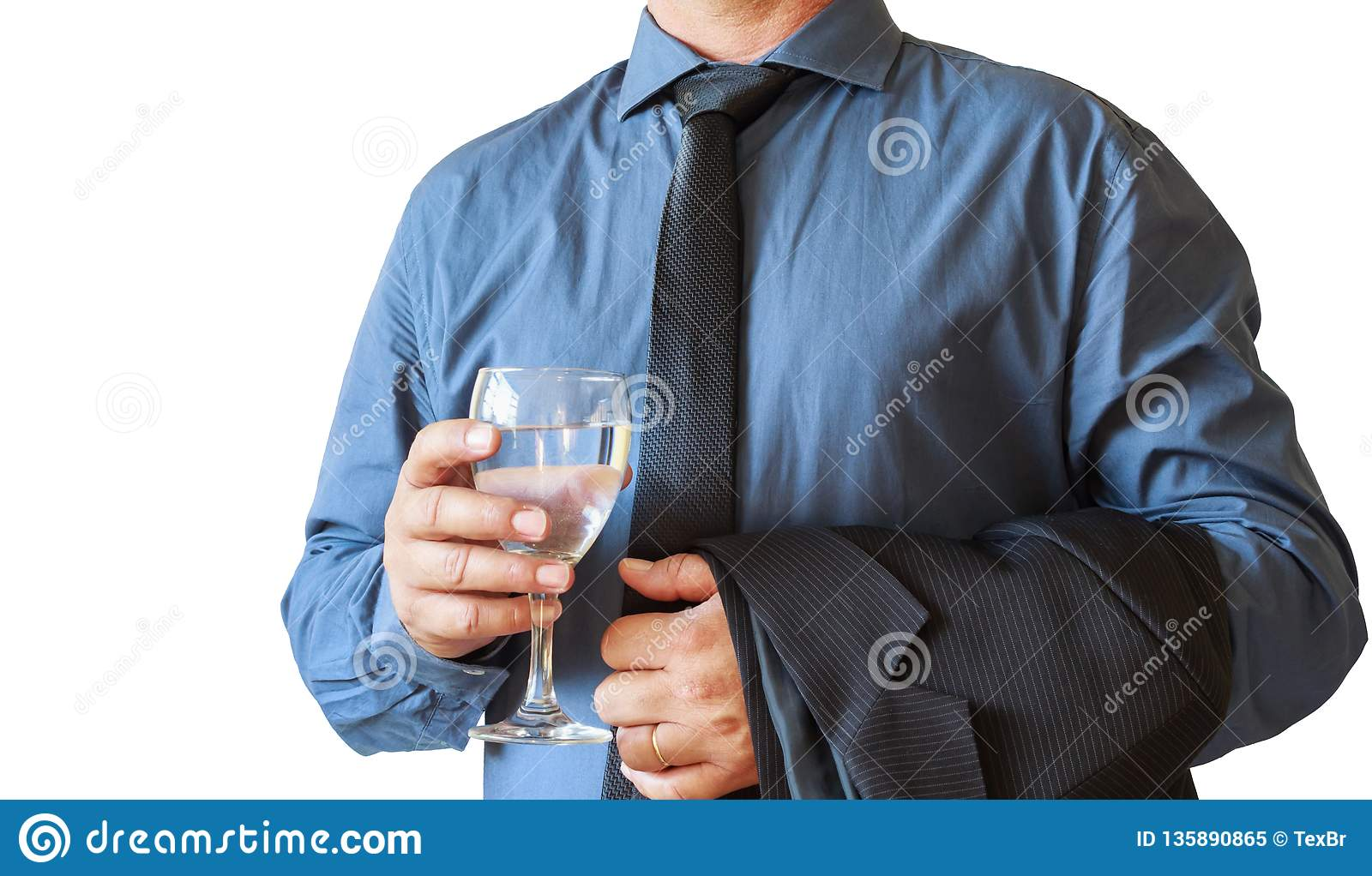 Business man hand holding glass of water for celebration. White background