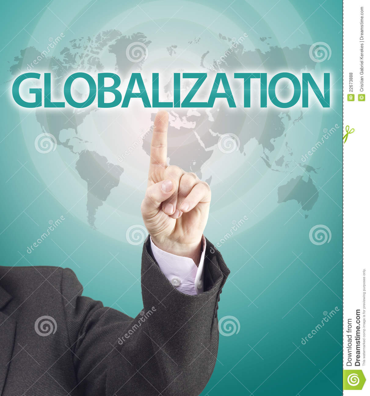Business Man Hand Pointing To Globalization Word Royalty ...