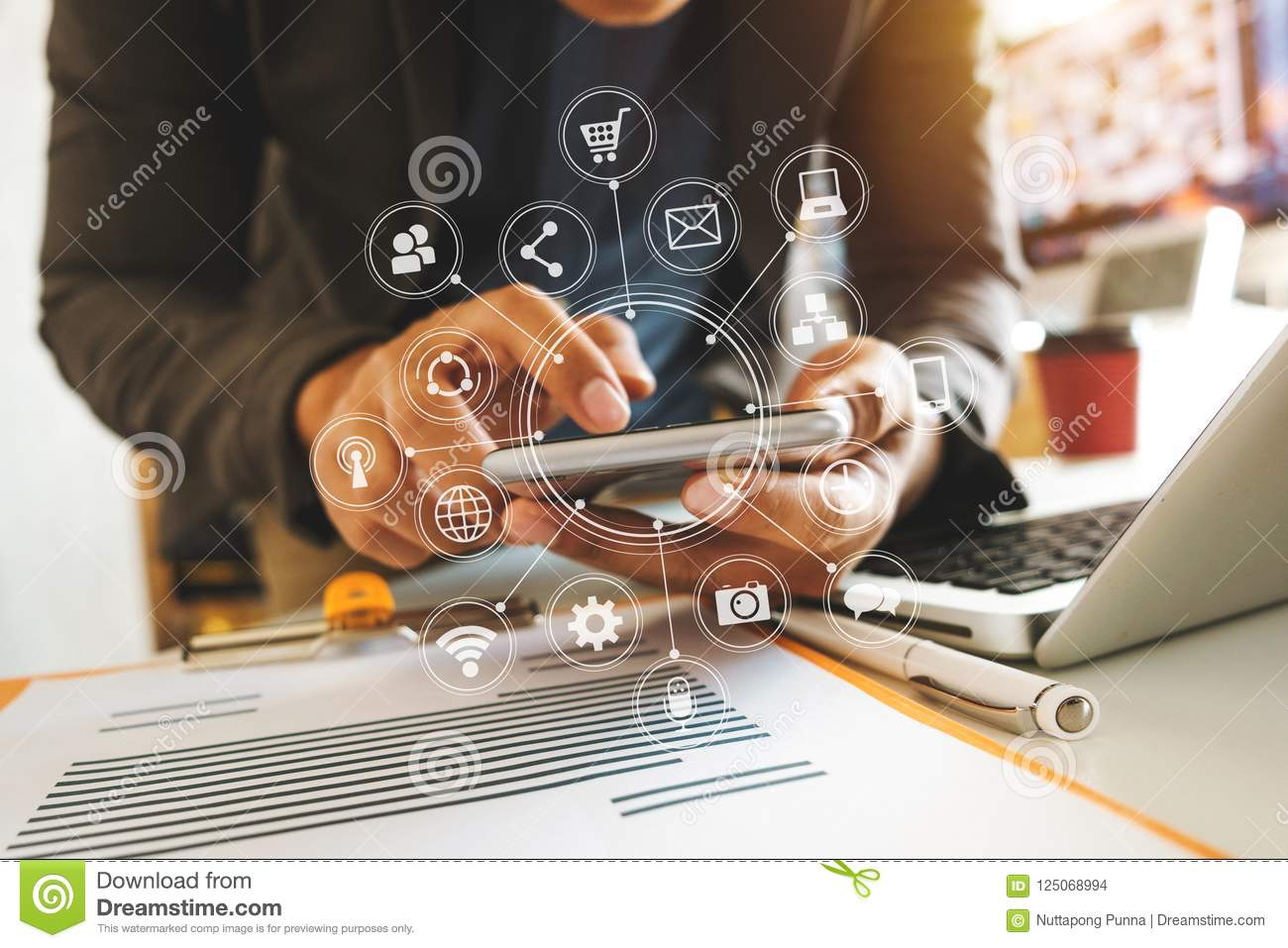 Business man hand working with laptop computer, tablet and smart phone
