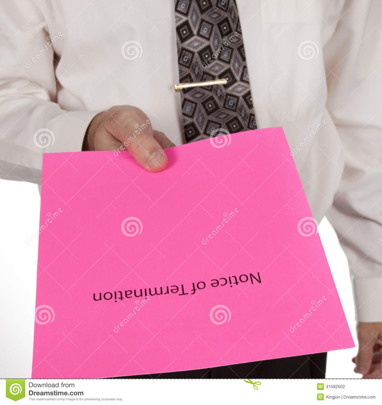 Business man handing out a notice of termination or pink slip
