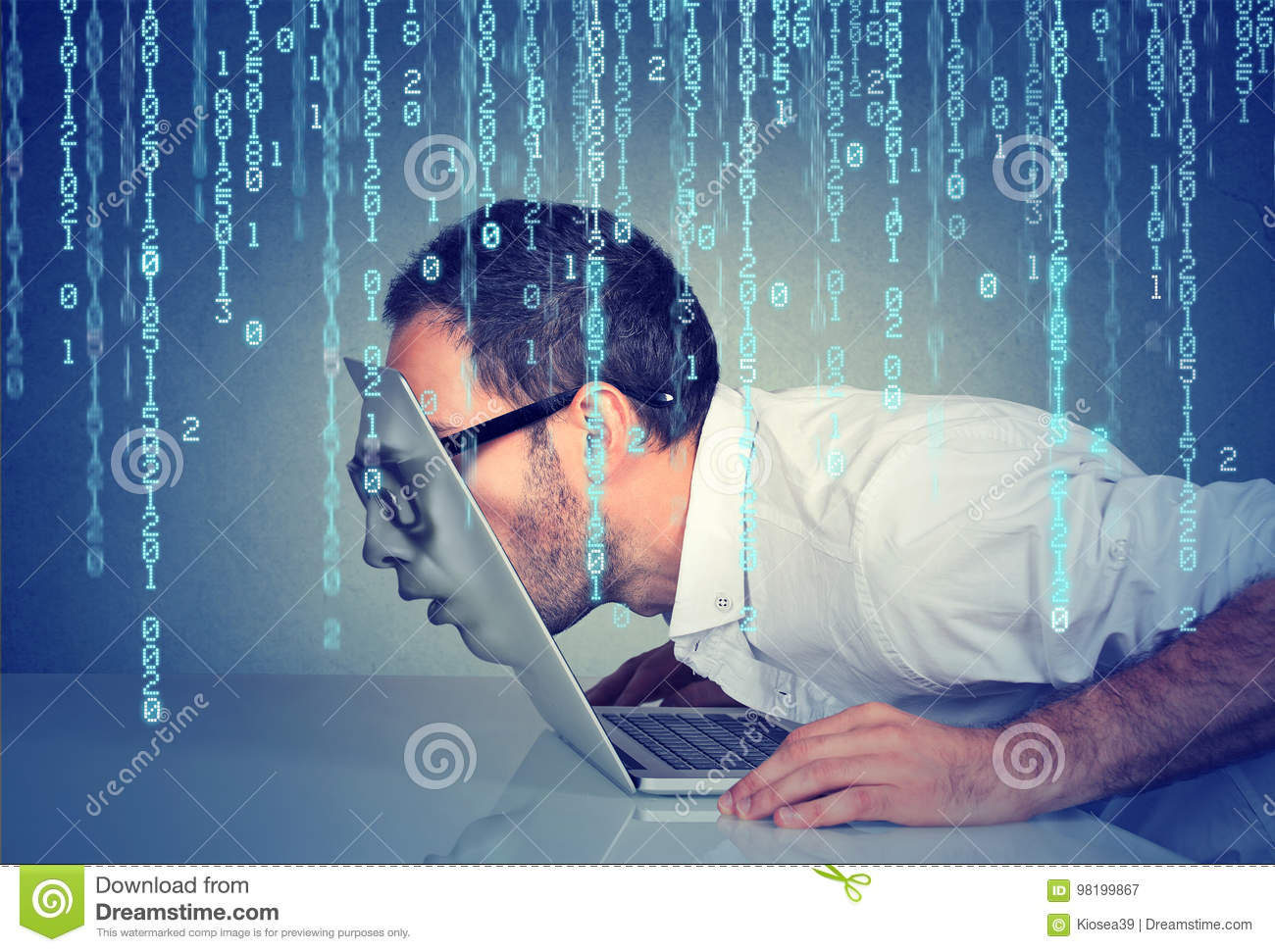 Business man with his face passing through the screen of a laptop on binary code background