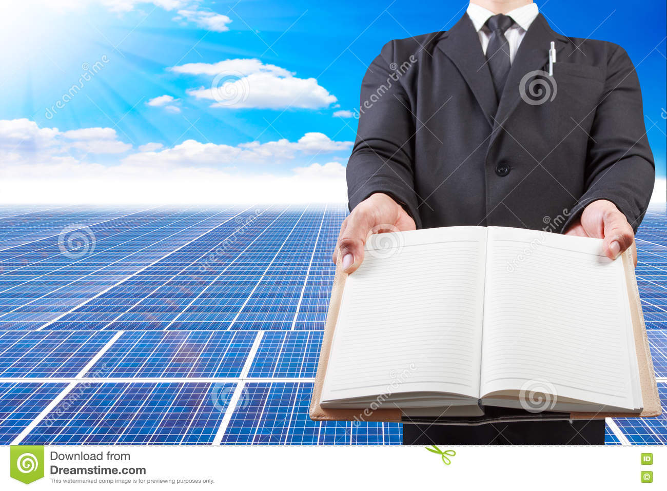 Business Man Holding Book Blank For Workspace At Solar ...