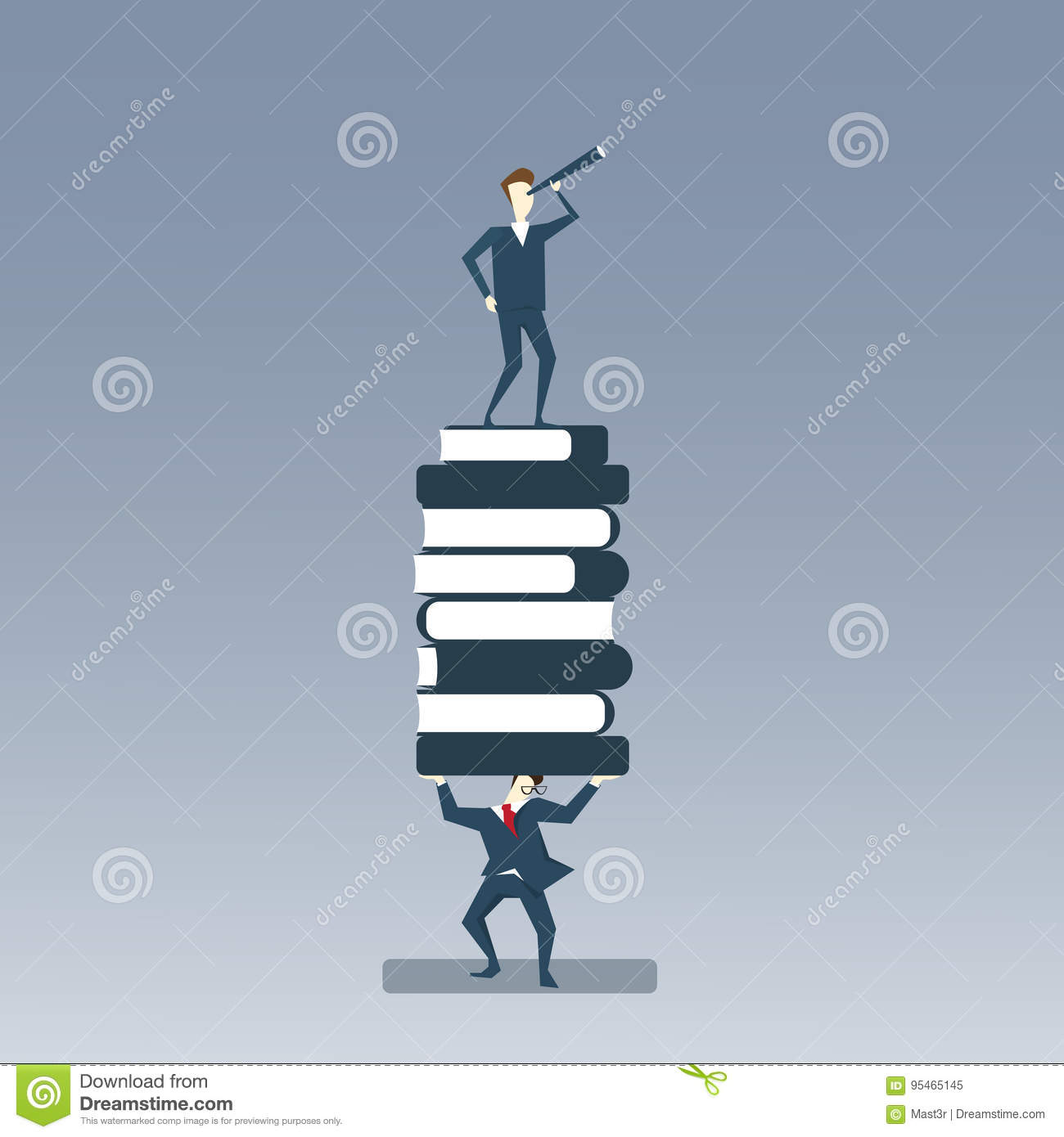 Business Man Holding Books Stack With Businessman Looking Through Binocular On Top Search New Creative Idea Concept