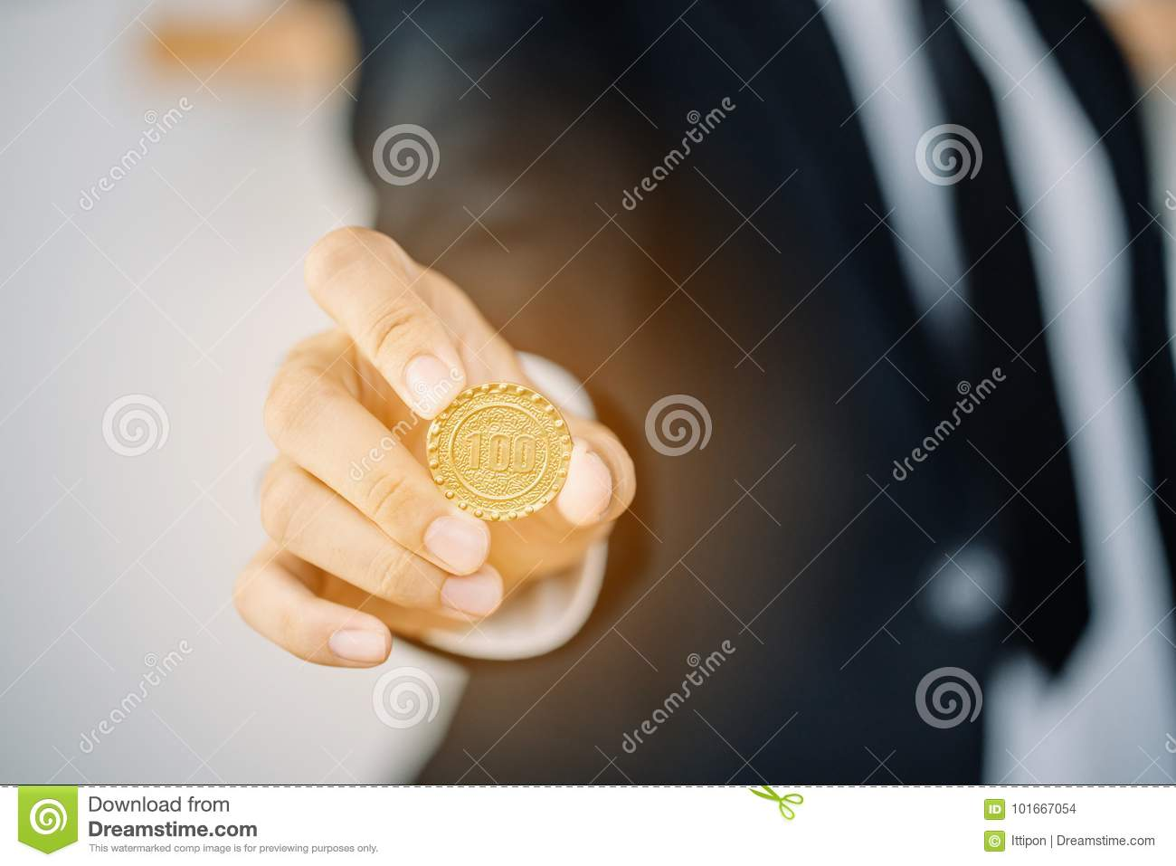 Business Man Holding Coin Stock Photo Image Of Hands 101667054