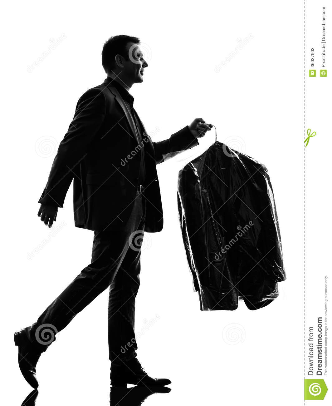 Business Man Holding Dry Clean Clothes Silhouette Stock Photos ...