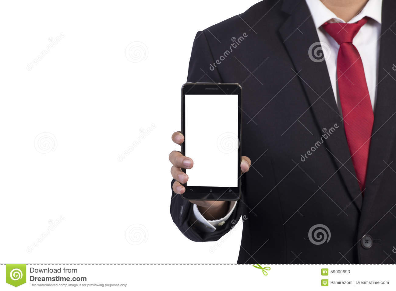 Technology Management Image: Business Man Holding In Hands Smartphone Royalty-Free