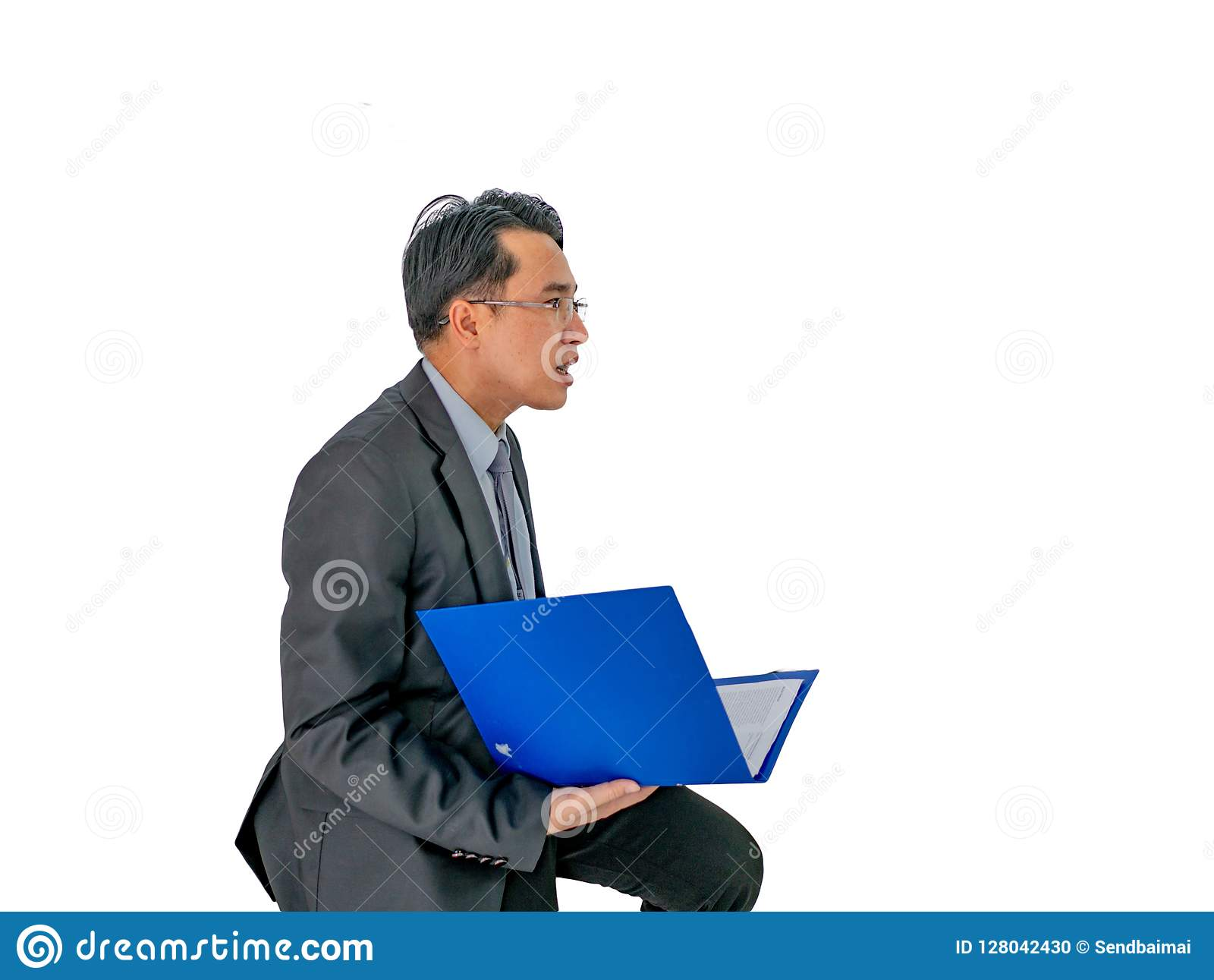 Business man holding his document on isolated background