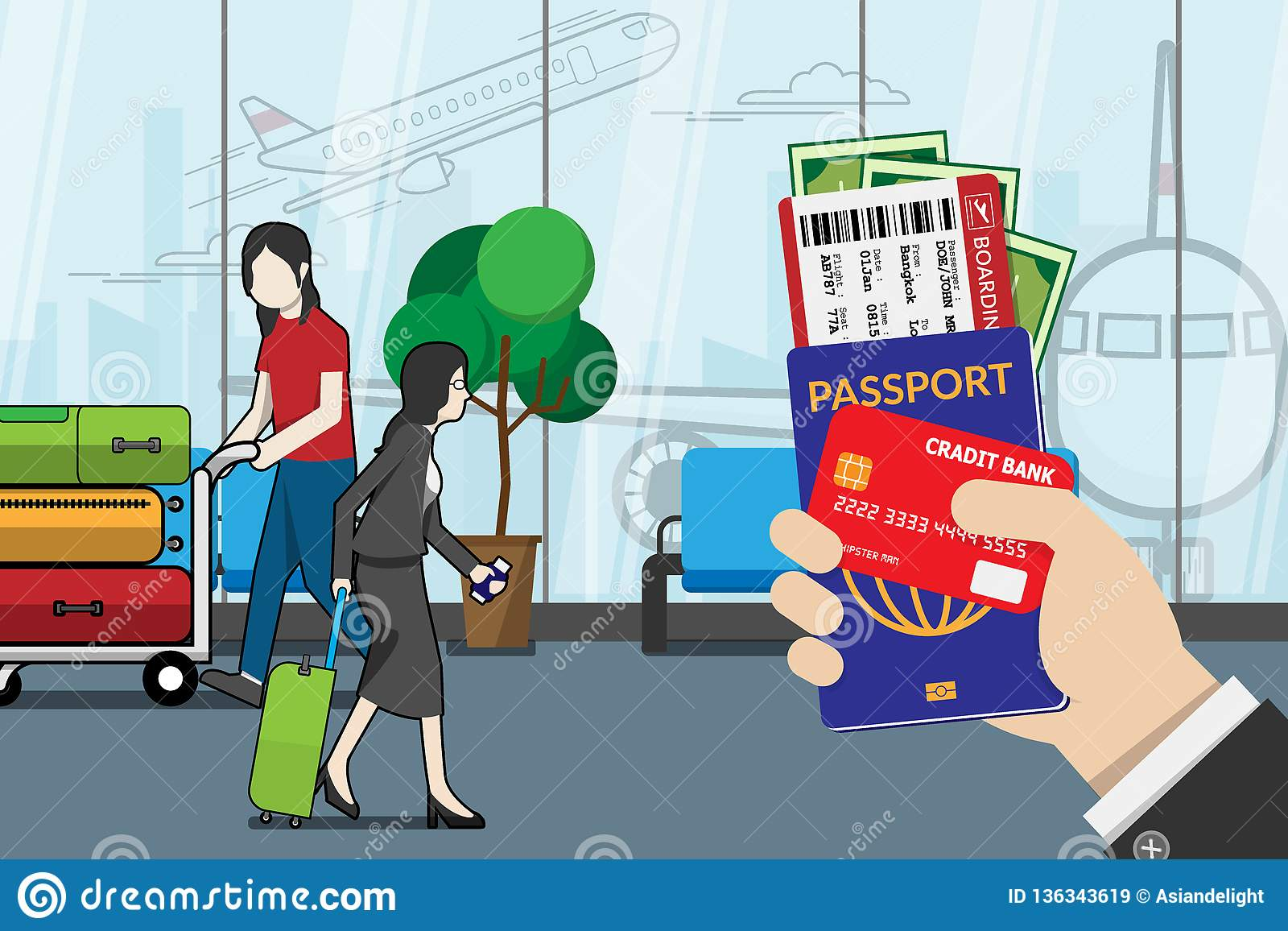 Business man holding passport, boarding pass , pocket money and credit card, prepare for travel with luggage and airport terminal