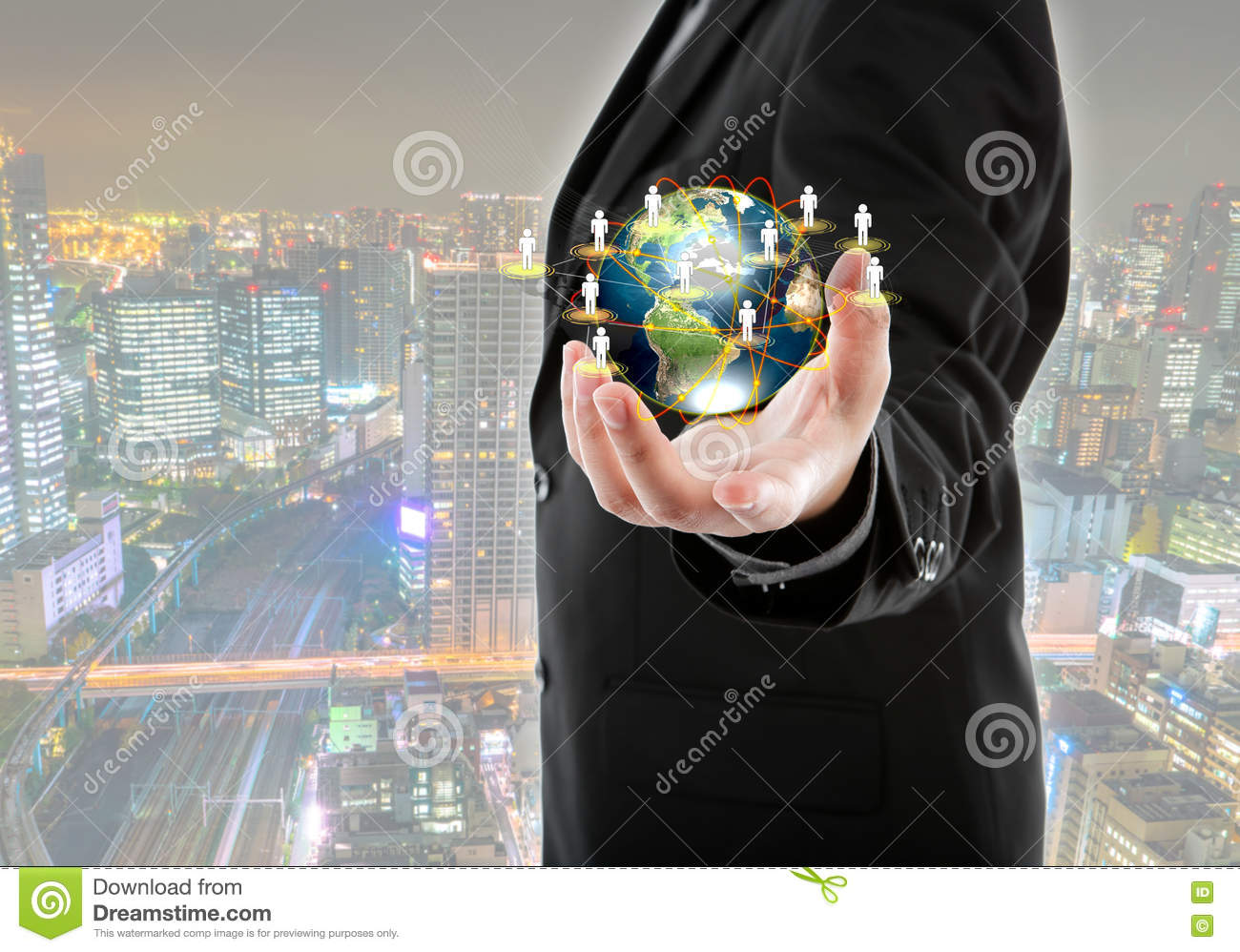 Technology Management Image: Business Man Holding The Small World In His Hands Royalty
