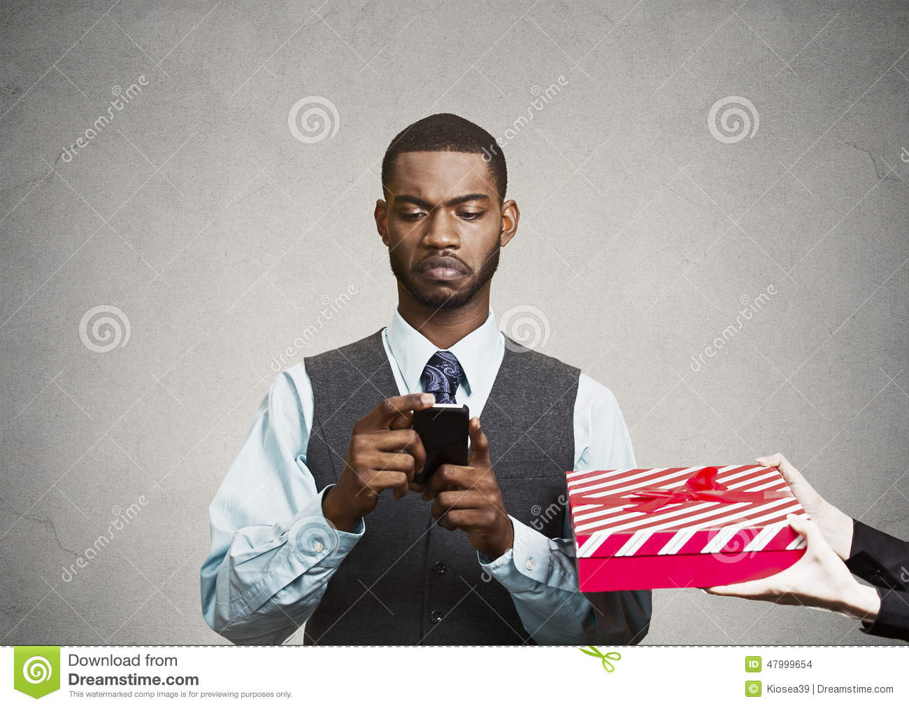 Download Business Man Holding Smart Phone, Doesnt Pay Attention On Surrou Stock Photo - Image of attorney, addiction: 47999654