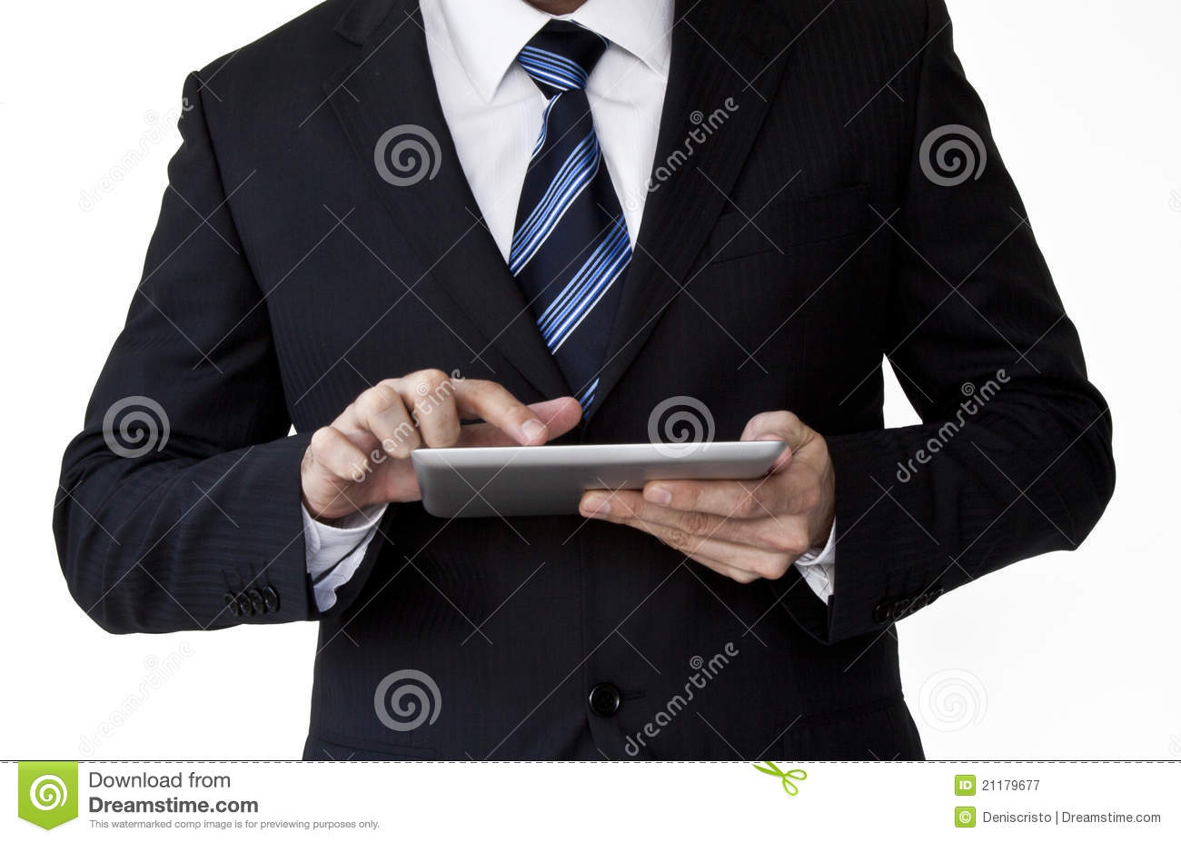 Business man holding tablet