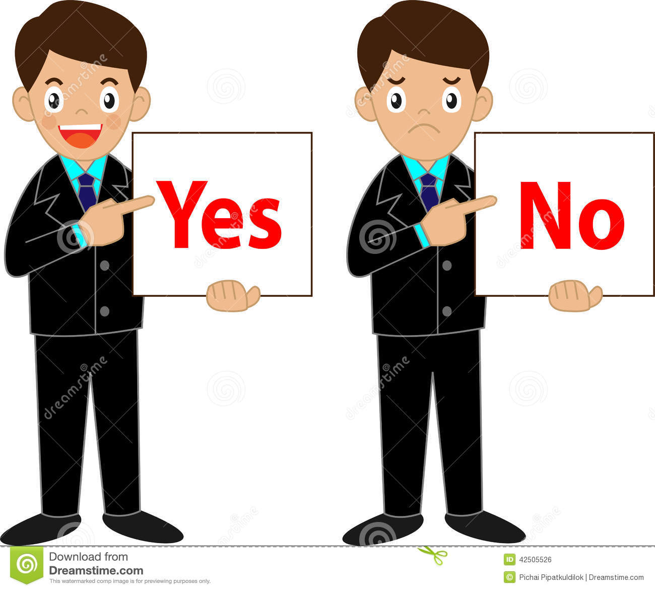 Business Man Holding Yes Or No Sign Stock Vector Image