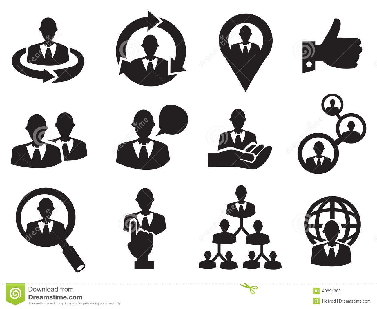 Business Man Icon Set For Human Resource Stock Vector