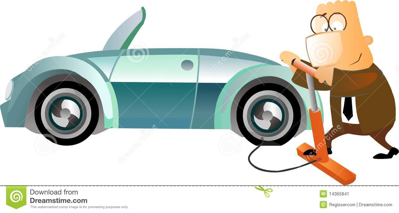 Business Man Inflating A Tyre Stock Image Image 14365841