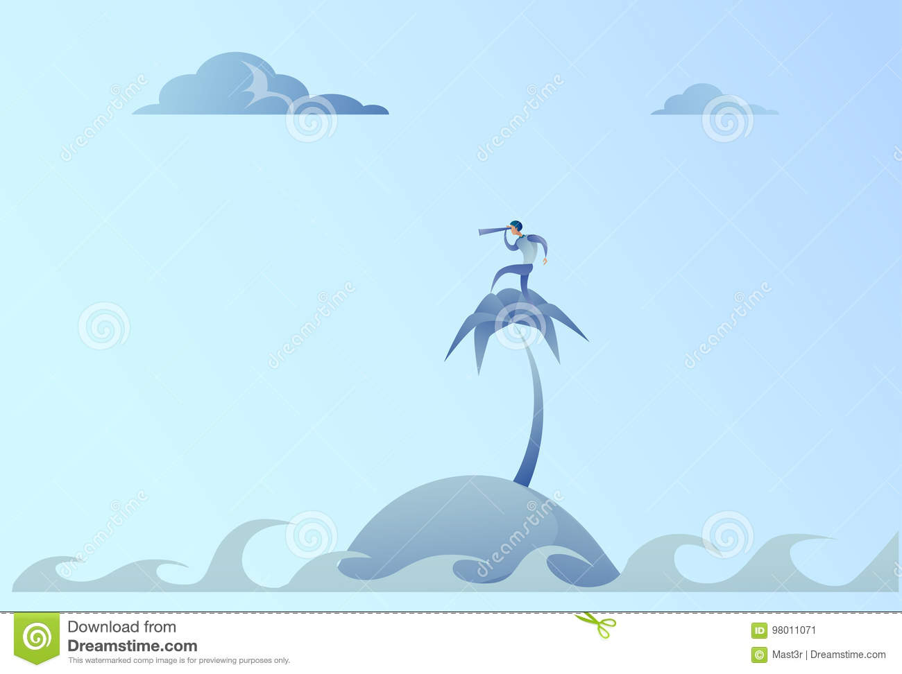 Business Man On Island Looking With Binocular On Future Opportunity Businessman Leader Success Concept