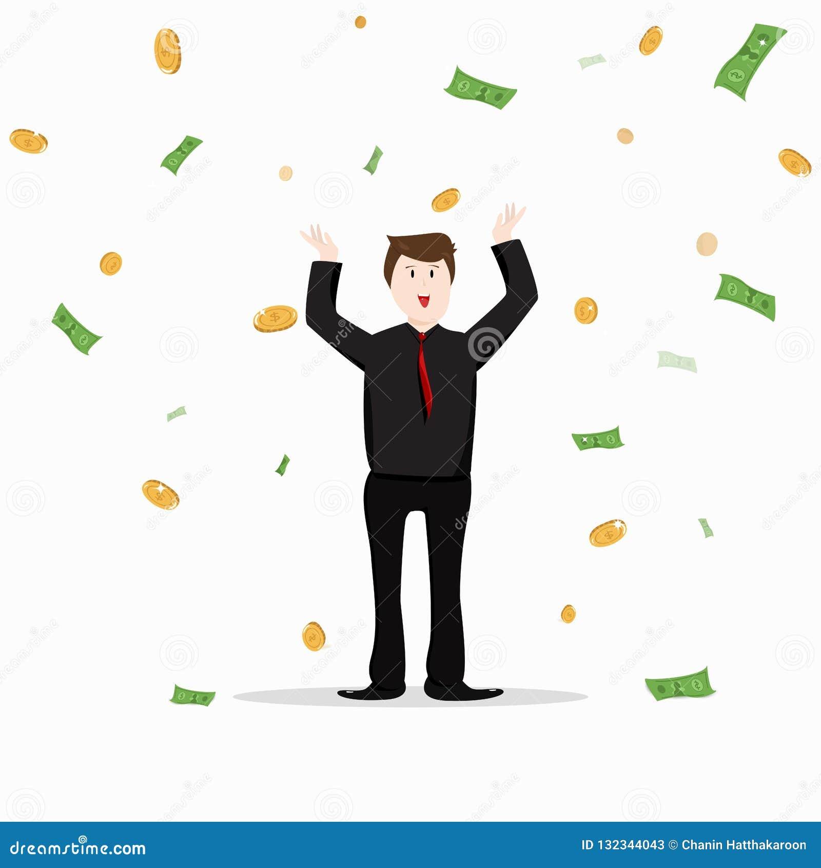 Business man, jackpot and bonus celebration office people, rich