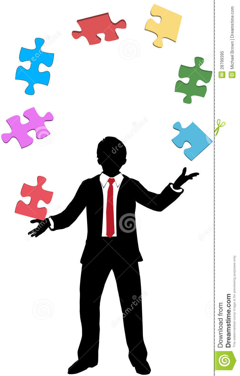 Business Man Juggling Puzzle Pieces Problems Stock Vector