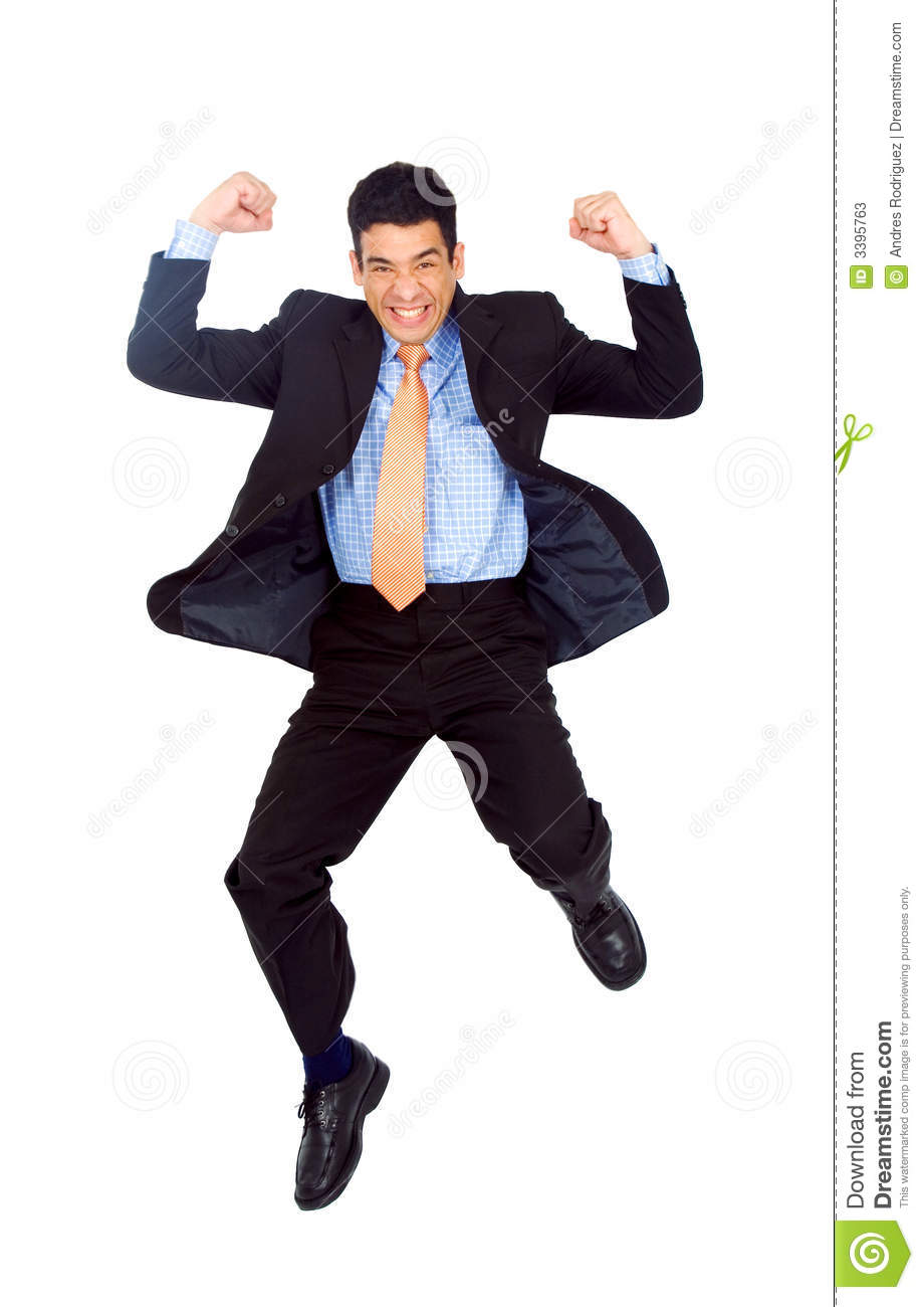 business man jumping of joy stock image image of first
